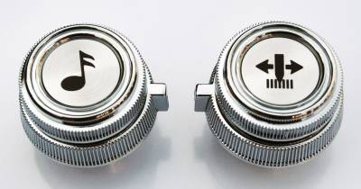 - 78-'87 CHEVROLET/GMC PICKUP, JIMMY, AND SUBURBAN CHROME RADIO KNOBS (FOR AM/FM CASSETTE RADIO)